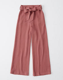 Cropped Wide-Leg Pants, RED