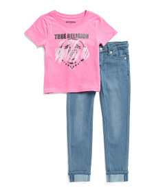 TRUE RELIGION Little Girls 2pc Tee And Roll Cuff J