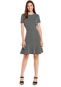 The Limited Short Sleeve Knit Dress with Flared He
