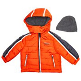 LONDON FOG Baby Boys Orange Hooded Puffer with Fle