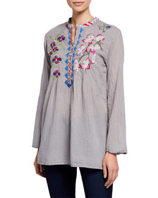 Johnny Was Tropical Garden Floral Embroidered Tuni