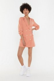 Nasty Gal Womens Peach Own It Double Breasted Blaz