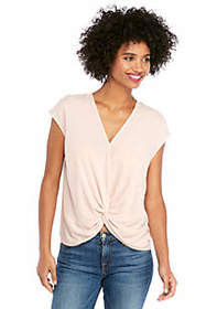 The Limited V Neck Drop Shoulder Top with Front Kn