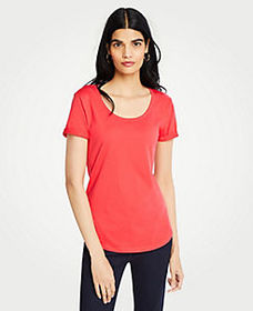 Petite Pima Cotton Scoop Neck Tee