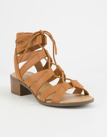 CITY CLASSIFIED Strappy Lace Up Cognac Womens Sand
