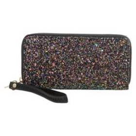 Womens Sasha Zip Around Chunky Glitter Wristlet