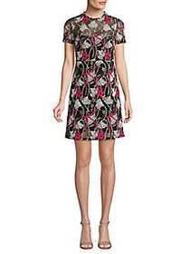 Valentino Fishnet Floral Short-Sleeve Dress NERO