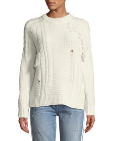 Free Generation Cable-Knit Textured Fringe Sweater