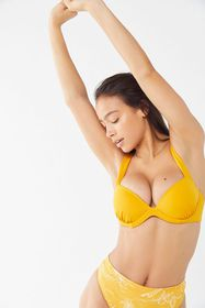 Out From Under Plunging Underwire Yellow Bikini To