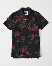 Floral Stretch Polo, NAVY FLORAL