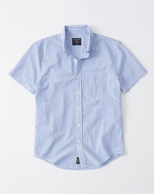 Short-Sleeve Seersucker Button-Up Shirt, LIGHT BLU