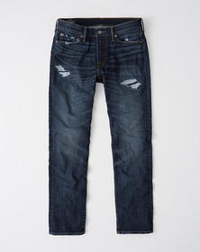 Ripped Straight Jeans, REPAIRED DARK WASH
