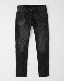 Ripped Athletic Skinny Jeans, WASHED BLACK DESTROY