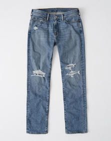 Ripped Straight Jeans, RIPPED MEDIUM WASH