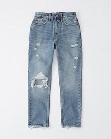 Ripped High Rise Mom Jeans, MEDIUM DESTROYED WASH