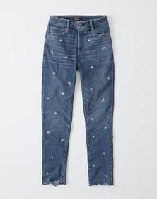 High Rise Ankle Jeans, EMBROIDERED MEDIUM WASH