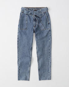 Belted Ultra High Rise Ankle Jeans, MEDIUM WASH