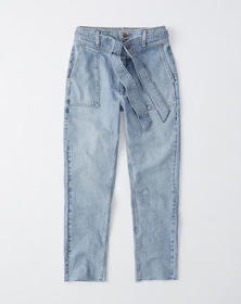 Belted Ultra High Rise Ankle Jeans, LIGHT WASH