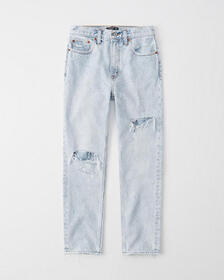 Ripped High Rise Mom Jeans, DESTROYED SUPER-LIGHT