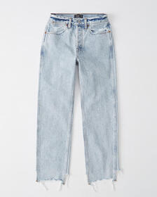 High Rise Ankle Straight Jeans, LIGHT WASH