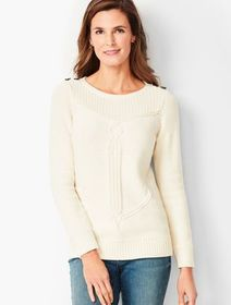 Talbots Cable Ribbed-Yoke Sweater