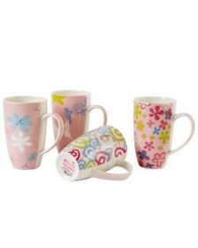 Pfaltzgraff Set of 4 Pink Paradise 14 Ounce Mugs