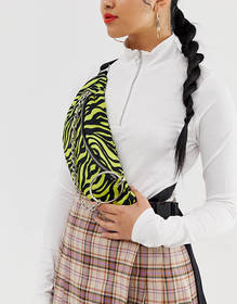 ASOS DESIGN neon tiger ring chain fanny pack