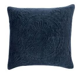Pottery Barn Velvet Medallion Quilted Shams - Midn