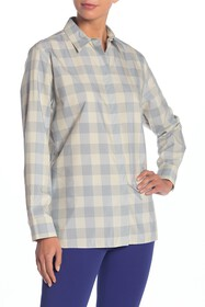 Theory Classic Menswear Plaid Silk Blend Button Do