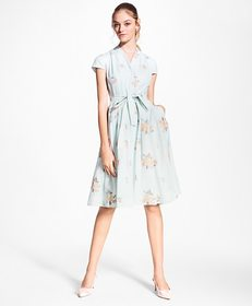 Brooks Brothers Floral-Embroidered Striped Cotton-
