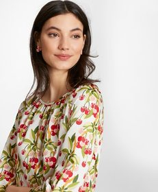 Brooks Brothers Cherry-Print Cotton Sateen Blouse