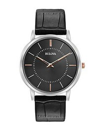 Bulova Classic Black Dial, Black Leather Strap Wat