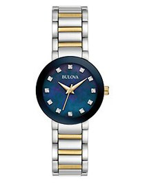 Bulova Diamonds Blue Dial Two-Tone Bracelet Watch
