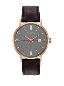 Bulova Classic Grey Dial Black Leather Strap Watch