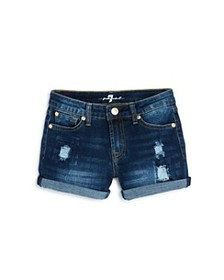7 For All Mankind - Girls' Cuffed Denim Shorts - L