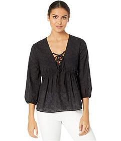 BCBGMAXAZRIA Elbow Sleeve Lace Front Woven Top