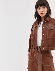 River Island utility jacket in brown