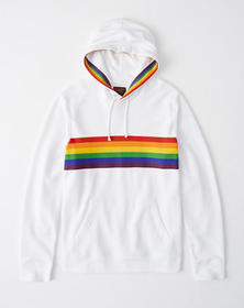 Pride Hoodie, WHITE WITH RAINBOW