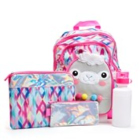 LIMITED TOO Girls 5-Piece Llama Graphic Backpack &