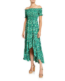 If by Sea Floral Print Smocked High-Low Dress