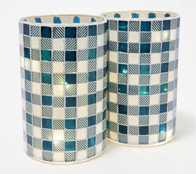 "Set of (2) 8"" Illuminated Checkered Pillars by Val"