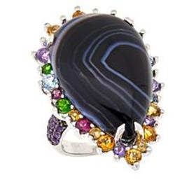 Colleen Lopez Sterling Silver Black Agate and Mult