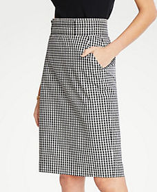 Petite Gingham Pencil Skirt