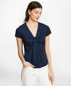 Brooks Brothers Draped Jersey Top