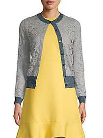Valentino Floral Lace Cotton-Blend Cardigan GREY
