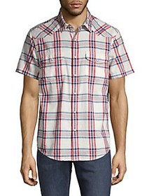 Lucky Brand Plaid Western Utility Shirt BLUE RED
