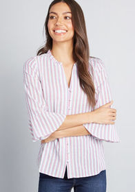 ModCloth Professional Pizzazz Button-Up Top STRIPE