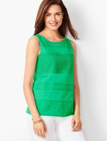Talbots Embroidered Panel Tank