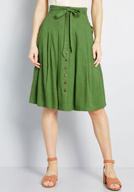 ModCloth ModCloth Bring to Life Pleated Skirt Gree