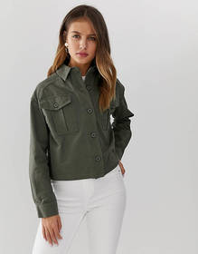 New Look cropped utility shacket in khaki